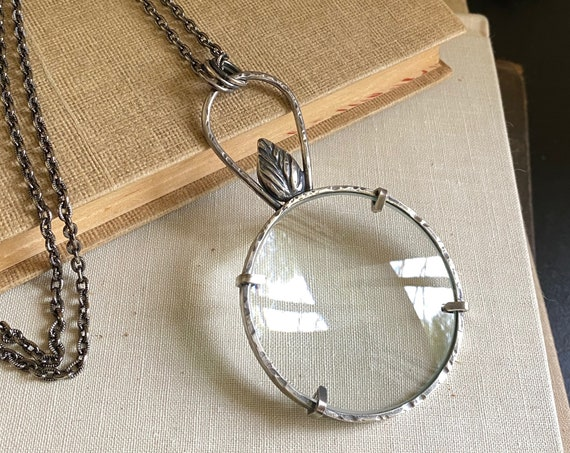 """Sterling Magnifying Glass Monocle Necklace - 2"""" Lens - OOAK Handcrafted Artisan Jewelry"""