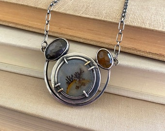 Dendritic Agate Sapphire & Quartz 18k Sterling Necklace /// One-of-a-kind Slow Crafted Artisan Jewelry