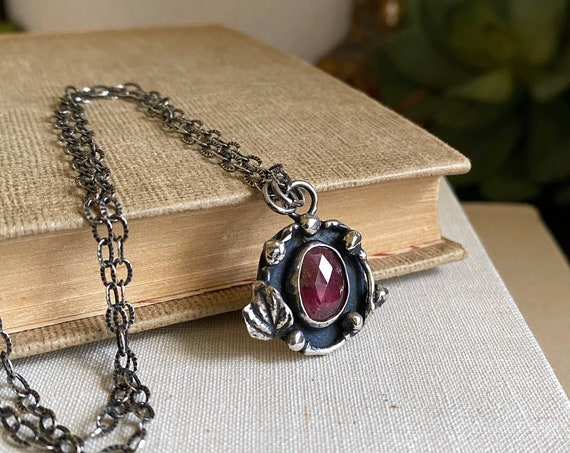 Rustic Rosecut Ruby Sterling Nest Necklace - OOAK Handcrafted Artisan Jewelry