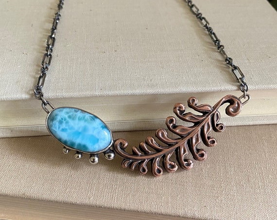 Larimar Sterling & Copper Leaf Necklace -  OOAK Handcrafted Artisan Jewelry