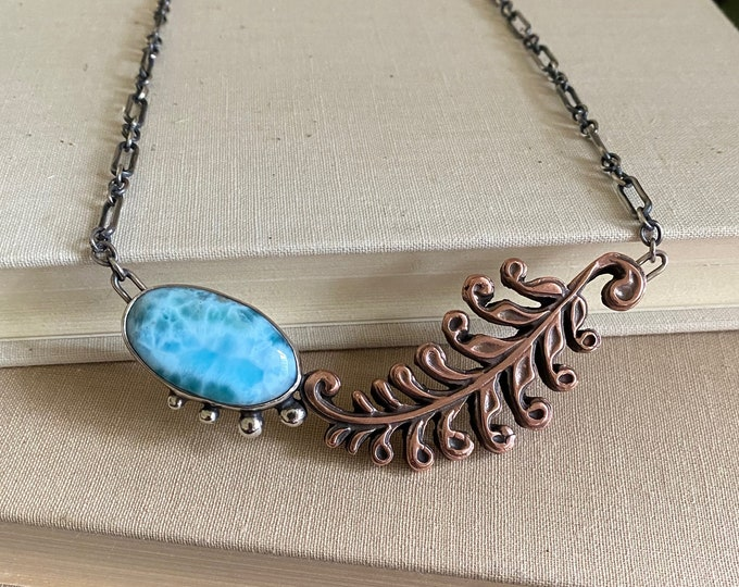 Larimar Sterling & Copper Leaf Necklace /// One-of-a-kind Slow Crafted Artisan Jewelry