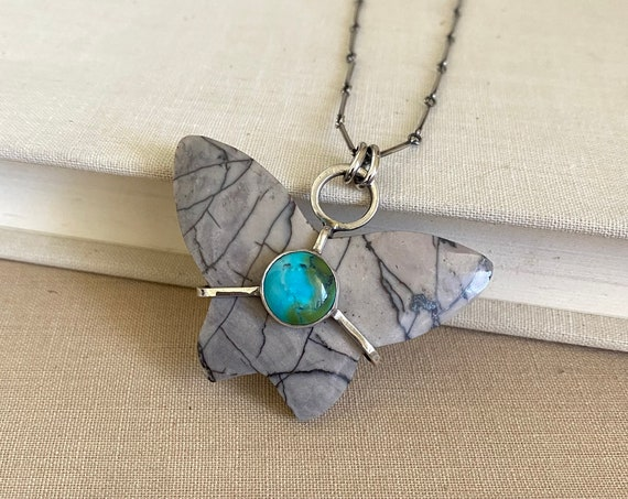 Jasper & Turquoise Butterfly Sterling Silver Necklace - OOAK Handcrafted Artisan Jewelry
