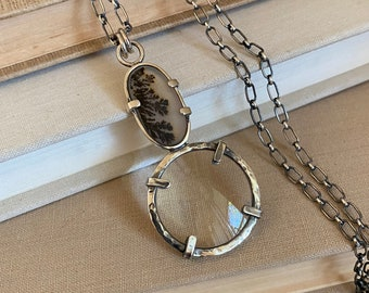 """Sterling Magnifying Glass Monocle Necklace - Mini 1"""" Lens /// One-of-a-kind Slow Crafted Artisan Jewelry"""