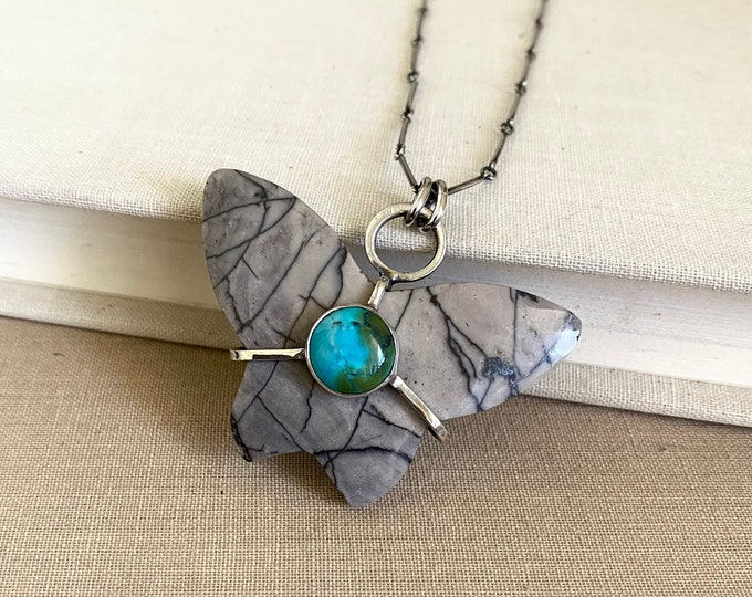 Jasper & Turquoise Butterfly Sterling Silver Necklace /// One-of-a-kind Slow Crafted Artisan Jewelry