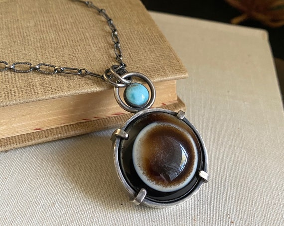 Eye Agate & Larimar Sterling Silver Necklace - OOAK Handcrafted Artisan Jewelry