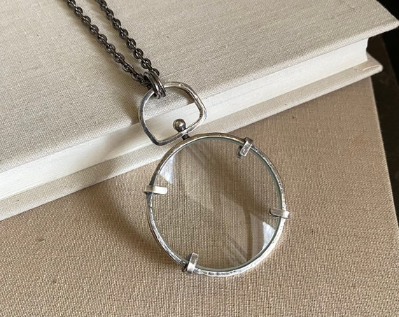 "Spinner Sterling Magnifying Glass Monocle Necklace - 1.5"" Lens - OOAK Handcrafted Artisan Jewelry"