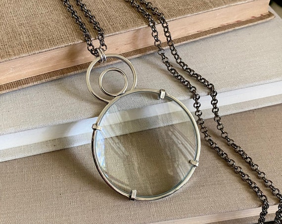 """Sterling Magnifying Glass Monocle Necklace - Large 2"""" Lens // One-of-a-kind Slow Crafted Artisan Jewelry"""