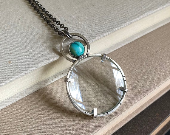 "Turquoise Sterling Magnifying Glass Monocle Necklace - 1.5"" Lens - OOAK Handcrafted Artisan Jewelry"