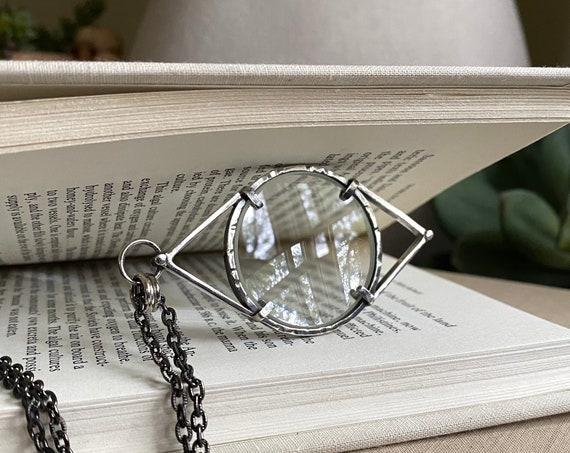 """EYE Sterling Magnifying Glass Monocle Necklace - Small 1.5"""" Lens - OOAK Handcrafted Artisan Jewelry"""