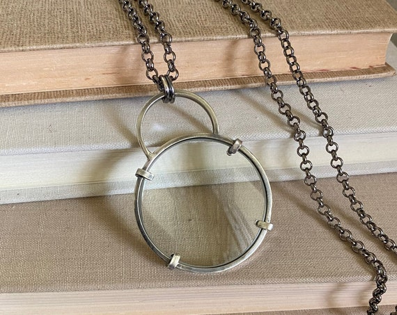"""Sterling Magnifying Glass Monocle Necklace - Small 1.5"""" Lens // One-of-a-kind // Slow Crafted // Hand Fabricated // Artisan Jewelry"""