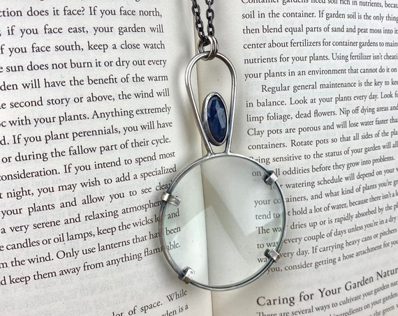 "Sapphire Sterling Magnifying Glass Monocle Necklace - 2"" Lens - OOAK Handcrafted Artisan Jewelry"
