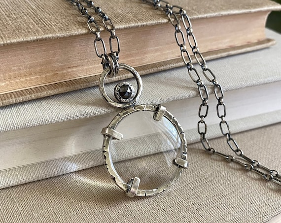 """Sterling Magnifying Glass Monocle Necklace - Mini 1"""" Lens - OOAK Handcrafted Artisan Jewelry"""