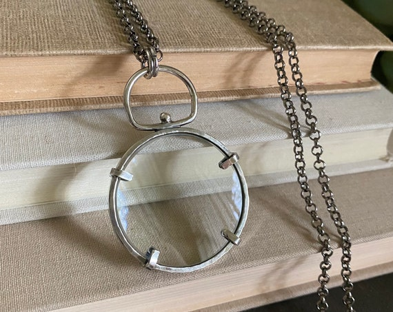 """Sterling Magnifying Glass Monocle Necklace - Small 1.5"""" Lens // One-of-a-kind Slow Crafted Artisan Jewelry"""