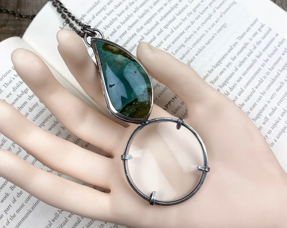 "Jasper Sterling Magnifying Glass Monocle Necklace - 1.5"" Lens - OOAK Handcrafted Artisan Jewelry"