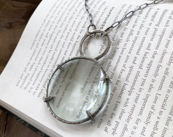 Sterling Magnifying Glass Monocle Necklace - Sterling Silver Chain - OOAK Handcrafted Artisan Jewelry