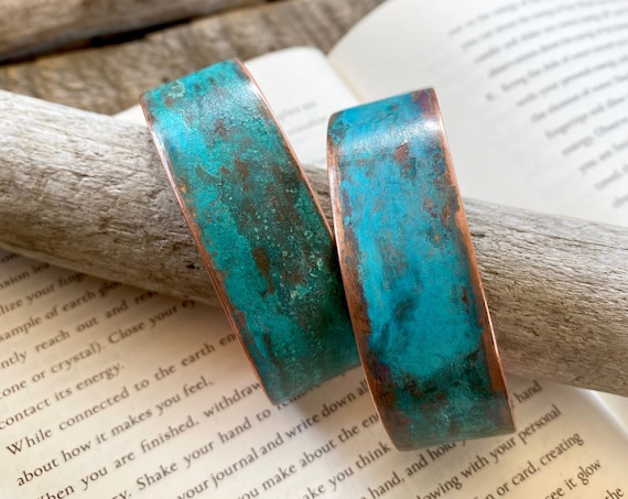 Copper Cuff with Natural Patina - OOAK Handcrafted Artisan Jewelry