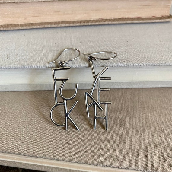RESERVED - Custom Order LENOX - F*ck Yeah Earrings Sterling Silver // One-of-a-kind // Slow Crafted // Hand Fabricated // Artisan Jewelry