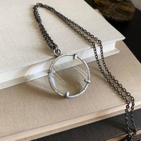 """Sterling Magnifying Glass Monocle Necklace - Small 1.5"""" Lens - OOAK Handcrafted Artisan Jewelry"""