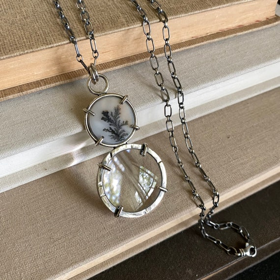 """Sterling Magnifying Glass Monocle Necklace - Mini 1"""" Lens // One-of-a-kind Slow Crafted Artisan Jewelry"""
