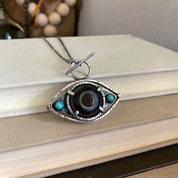 Eye Agate & Turquoise Sterling Silver Necklace - OOAK Handcrafted Artisan Jewelry