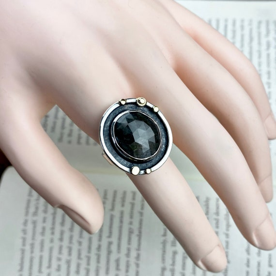 Gray Sapphire 14k Sterling Ring - Size 8.25 - OOAK Handcrafted Artisan Jewelry