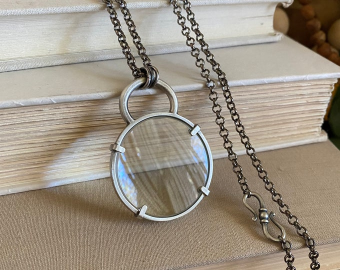 """Sterling Magnifying Glass Monocle Necklace - Small 1.5"""" Lens  /// One-of-a-kind Slow Crafted Artisan Jewelry"""