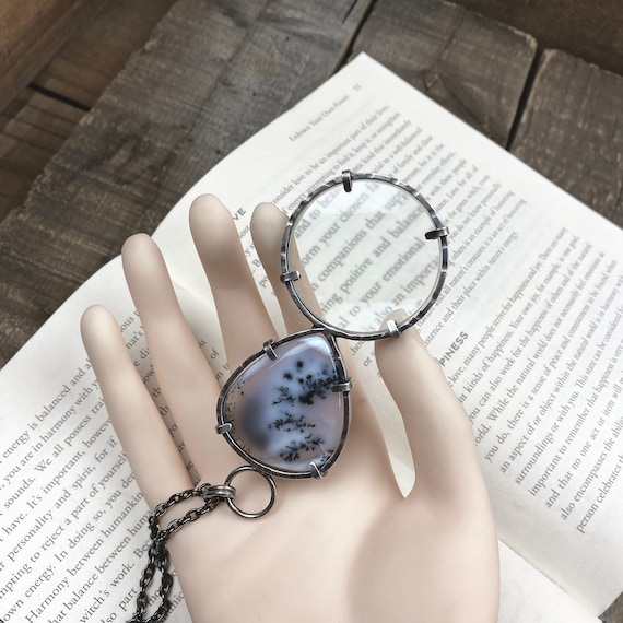 "Dendritic Opal Sterling Magnifying Glass Monocle Necklace - 1.5"" Lens - OOAK Handcrafted Artisan Jewelry"