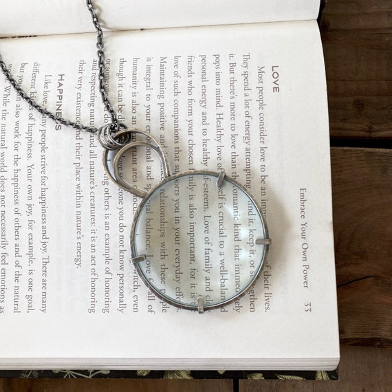 Sterling Magnifying Glass Monocle Necklace - Steel & Silver Chain - OOAK Handcrafted Artisan Jewelry