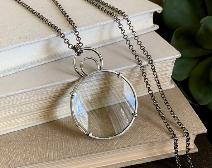 """Sterling Magnifying Glass Monocle Necklace - Large 2"""" Lens /// One-of-a-kind Slow Crafted Artisan Jewelry"""