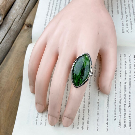 Green Chrome Diopside 14k Gold & Sterling Ring - Size 6.75 - OOAK Handcrafted Artisan Jewelry