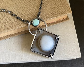 Vintage Eye Agate & Turquoise Sterling Silver Necklace /// One-of-a-kind Slow Crafted Artisan Jewelry