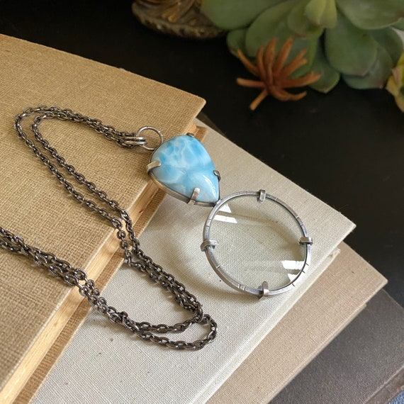 "Larimar Sterling Magnifying Glass Monocle Necklace - 1.5"" Lens - OOAK Handcrafted Artisan Jewelry"