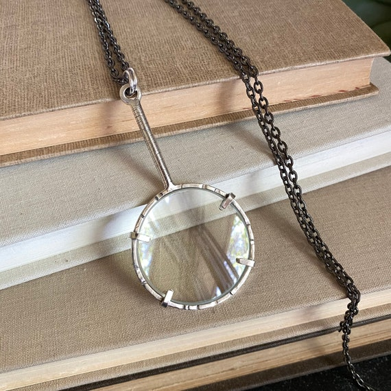 "Sterling Magnifying Glass Monocle Necklace - 1.5"" Lens - OOAK Handcrafted Artisan Jewelry"