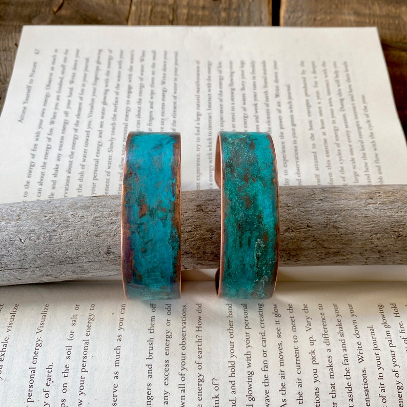 OOAK Handcrafted Artisan Jewelry Copper Cuff with Natural Patina