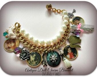 Antique Doll Photograph Charm Bracelet- Pearls