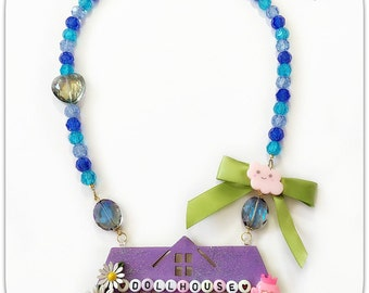 Dollhouse Necklace Kawaii House Jewelry Rocking Horse Necklace Purple and Blue