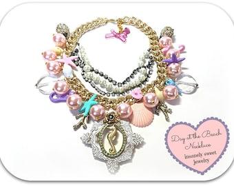 Seahorse Starfish Beach Charm Necklace Chunky Pearl