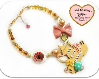Alice in Wonderland  Necklace, Mad Tea Party  Statement Necklace,