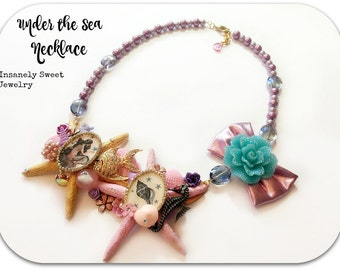 Under the Sea Starfish Necklace- Statement Necklace- Mermaid Jewelry Lilac Pink