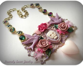 Skull Statement Necklace- Floral Birds