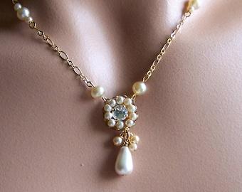 Pearl Bridal Necklace, Swarovski Crystal Rhinestone Pendant, Vintage Inspired Bridal Jewelry, Gold Necklace, Vintage Inspired Weddings
