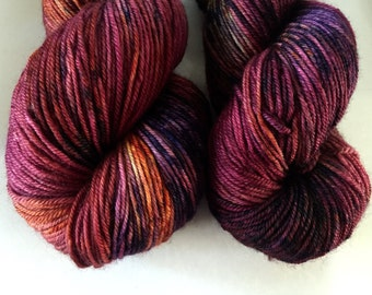 Wine, orange, deep purple yarn-Mulling-on Superwash Merino Sport 4 oz. 380 yards