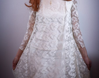 1960's Lace Mini Wedding Dress - Sz XS