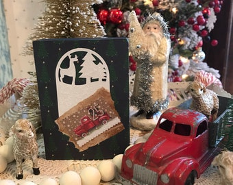 Little Red Truck Farmhouse Christmas Decor