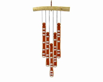 Root Beer and Cream Wind Chime, White and Amber Windchime