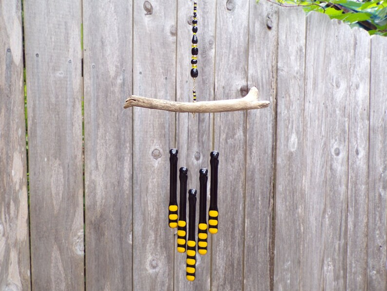 Black and Yellow WindChime Glass Chimes Bumblebee Colors Black and Yellow Glass Wind Chime with Oregon Driftwood