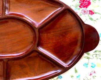 Vintage Solid Wood Divided Appetizer Tray with 7 Sections Antique