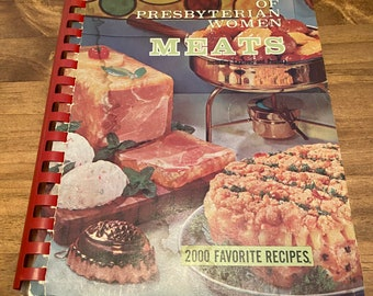 1968 Favorite Recipes of Presbyterian Women MEATS Vintage 60s 70s Cookbook