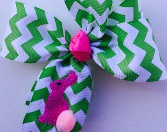 Girls Easter Hair bow in Lime Chevron Bunny Gift 4 inch hairbow infant baby clasic Spring medium portrait ribbon affordable sale