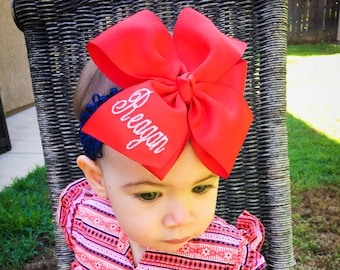 Red Monogram Name, Hair Bow, School Uniform, Girls Bows, Customized Kids, Ribbons Large, Barrette Mono, Personalized, Boutique Embroidery